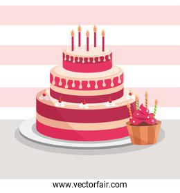 birthday cake and cupcake with candles decoration