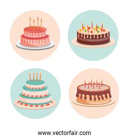 birthday cakes with candles and delicious cream