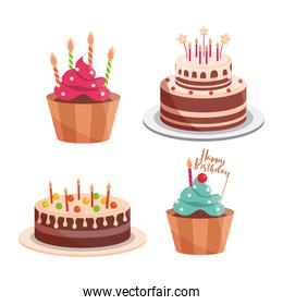 birthday cakes and cupcakes candles lettering celebration and decoration