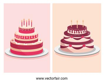 birthday cakes sweet cream and decorative candles