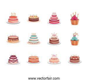 birthday delicious baked cakes cupcakes decorated confectioneries with glaze