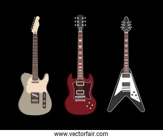electric guitar musical instruments on black background