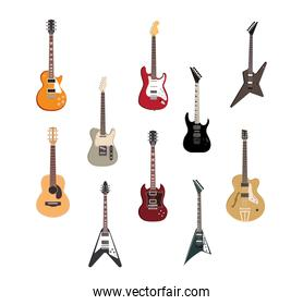 electric rock guitar, acoustic jazz and metal strings music instruments