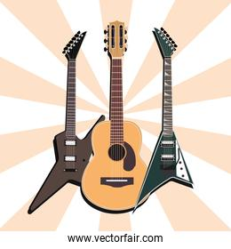 acoustic and electric guitars musical instrument, sunburst background