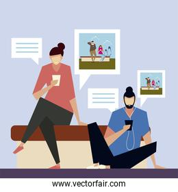 man and woman sitting sharing photos with smartphones, people and gadgets