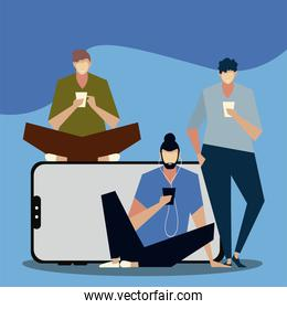 men using smartphone typing, call and send message