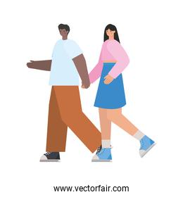 man and woman grabbing hands over a white background