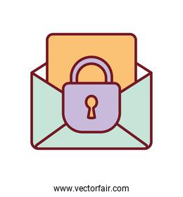 envelope with a papper and one padlock on a white background