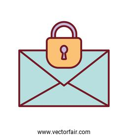 envelope with a padlock on a white background