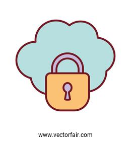 cloud with a padlock on a white background