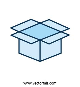 open blue packing box on a white background