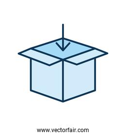 open blue packing box with one arrow on a white background