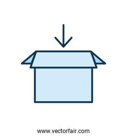 blue packing box with one arrow