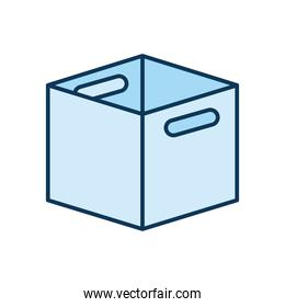 open blue packing box in a white background