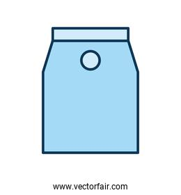 light blue packing bag over a white background
