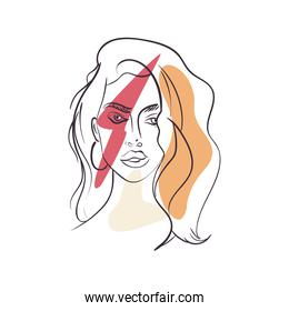 sexy woman cartoon with red thunder vector design