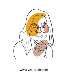 sexy woman cartoon with glasses vector design