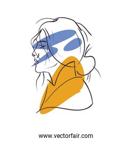 sexy woman cartoon side view vector design