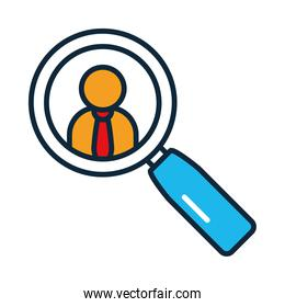 magnifying glass with businessman icon, line and fill style