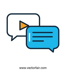 social media concept, speech bubbles icon, line and fill style