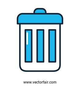 trash bucket icon, line and fill style