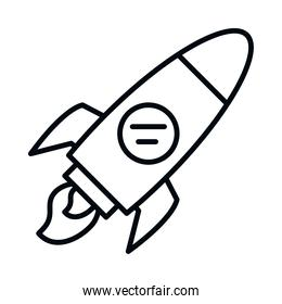 space rocket icon, line style