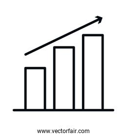 graphic bar chart with ascending arrow, line style