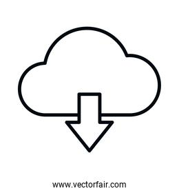 cloud storage and download icon, line style