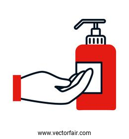 hand and soap bottle icon, colorful design