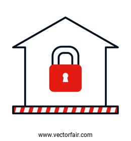 coronavirus prevention concept, house with padlock icon, colorful design