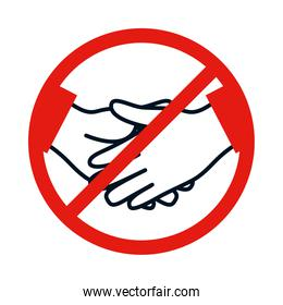 forbidden sign to touch with hands in a red crossed circle, colorful design