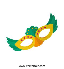 carnival mask with feathers, colorful design