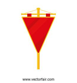 icon of medieval red shield on stand, colorful design