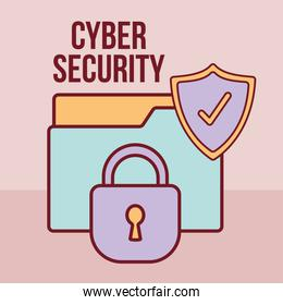 cyber security lettering and folder with a padlock