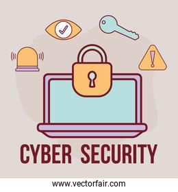 cyber security lettering and one screen with a padlock and bundle of cyber security icons
