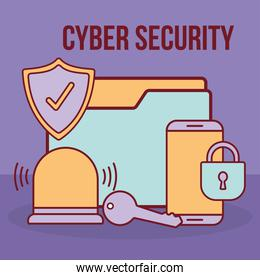 cyber security lettering and folder with a padlock and bundle of cyber security icons