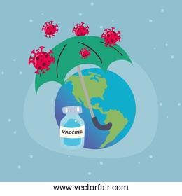covid 19 virus vaccine jar world and umbrella vector design