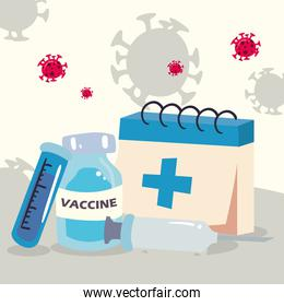 covid 19 virus vaccine injection jar tube and calendar vector design