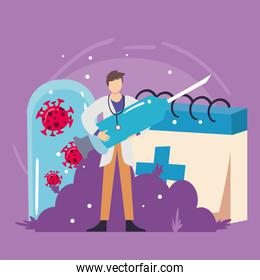 doctor man with covid 19 virus vaccine injection and cross calendar vector design