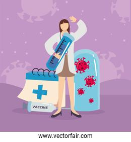 doctor woman with covid 19 virus vaccine injection tube and cross calendar vector design