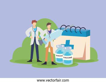 doctors holding covid 19 virus vaccine injection jars and calendar vector design