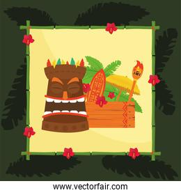 Tiki cartoon with wood banner and torch in frame vector design