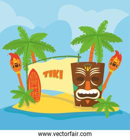 Hawaiian tiki cartoon with torches and palm trees vector design