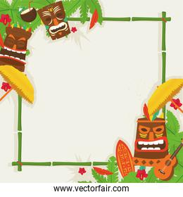 Tiki cartoons with umbrellas and leaves frame vector design
