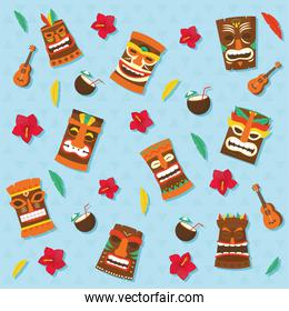 Tiki cartoons and coconut cocktails backgrounds vector design