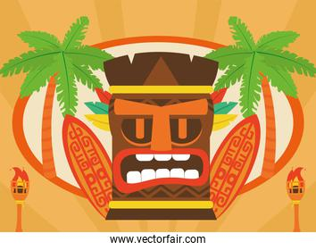 Tiki cartoon surfboards palm trees and torches vector design