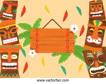 Hawaiian tiki cartoons frame and wood banner with leaves vector design