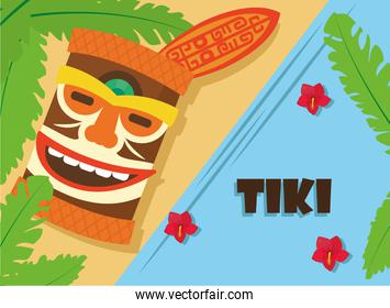 Tiki with surfboard leaves and flowers vector design