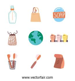 Save the planet zero waste and eco set of icons vector design