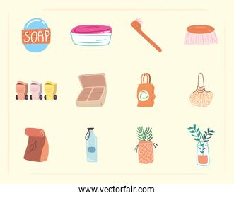 Save the planet zero waste and eco icon collection vector design